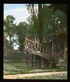 view [Versailles]: staircase outside the Queen's House/Billiards House at the Hameau de la Reine, Marie Antoinette's rustic, faux country village in the Versailles park. digital asset: [Versailles]: staircase outside the Queen's House/Billiards House at the Hameau de la Reine, Marie Antoinette's rustic, faux country village in the Versailles park.: 1936 Jul.