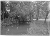 view [Versailles]: rustic foot bridge over a stream, surrounded by trees, probably in the Hameau de la Reine. digital asset: [Versailles] [glass negative]: rustic foot bridge over a stream, surrounded by trees, probably in the Hameau de la Reine.
