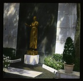 view [Rouché Garden]: white marble slabs and golden statue in the smaller of two gardens at the site. digital asset: [Rouché Garden]: white marble slabs and golden statue in the smaller of two gardens at the site.: 1936 Jun.