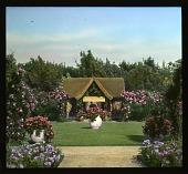 view [Schneider Garden]: tea house and planted urns. digital asset: [Schneider Garden]: tea house and planted urns.: 1936 Jul.