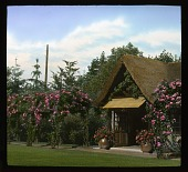 view [Schneider Garden]: tea house and roses. digital asset: [Schneider Garden]: tea house and roses.: 1936 Jul.