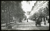 view [Miscellaneous Sites in France, Series 1]: a street bordered with trees and shops. digital asset: [Miscellaneous Sites in France, Series 1] [lantern slide]: a street bordered with trees and shops.