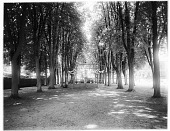 view [Miscellaneous Sites in Lisieux, Normandy, and Vicinity]: bandstand in the Jardin de l'évêche in Lisieux, Normandy, with the former Bishop's Palace in the distance. digital asset: [Miscellaneous Sites in Lisieux, Normandy, and Vicinity] [glass negative]: bandstand in the Jardin de l'évêche in Lisieux, Normandy, with the former Bishop's Palace in the distance.