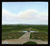 view [Château de Champs-sur-Marne]: looking from the château across the formal parterre garden to the surrounding countryside. digital asset: [Château de Champs-sur-Marne]: looking from the château across the formal parterre garden to the surrounding countryside.: 1936 Jul.