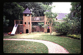 view [Heard House]: children's area with play house. digital asset: [Heard House]: children's area with play house.: 1997 Jun.