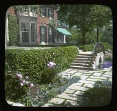 view [Unidentified Garden in Unknown Location]: flagstone terrace with peonies and an ivy-covered retaining wall. digital asset: [Unidentified Garden in Unknown Location]: flagstone terrace with peonies and an ivy-covered retaining wall.: [between 1914 and 1949?]