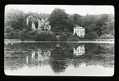 view [Unidentified landscape]: lake in foreground, castle ruins beyond. digital asset: [Unidentified landscape]: lake in foreground, castle ruins beyond.: [between 1914 and 1949?]