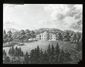 view [Unidentified landscape]: a horse-drawn carriage approaching a large building; deer in a field in the foreground. digital asset: [Unidentified landscape]: a horse-drawn carriage approaching a large building; deer in a field in the foreground.: [between 1914 and 1949?]