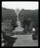 view Bergpark Wilhelmshöhe: looking toward the Hercules monument and cascades. digital asset: Bergpark Wilhelmshöhe: looking toward the Hercules monument and cascades.: [between 1914 and 1949]