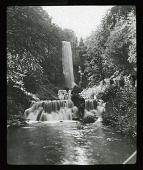 view [Unidentified landscape]: waterfall from a tall stone structure. digital asset: [Unidentified landscape]: waterfall from a tall stone structure.: [between 1914 and 1949?]