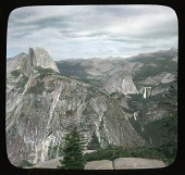 view [Yosemite landscape]: Half Dome, Nevada Falls and Vernal Falls . digital asset: [Yosemite landscape]: Half Dome, Nevada Falls and Vernal Falls .: [between 1914 and 1949]
