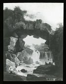 view Unidentified Landscape in Unknown Location: a photograph of a painting, presumably by Hubert Robert, depicting a waterfall and natural bridge. digital asset: Unidentified Landscape in Unknown Location: a photograph of a painting, presumably by Hubert Robert, depicting a waterfall and natural bridge.: [between 1914 and 1949?]