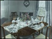 view [Miscellaneous Flower Arrangements]: flower centerpiece on a dining room table complete with place settings. digital asset: [Miscellaneous Flower Arrangements]: flower centerpiece on a dining room table complete with place settings.: [between 1914 and 1949?]