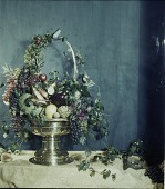 view [Miscellaneous Flower Arrangements]: a still life arrangement of fruits and vegetables in an urn. digital asset: [Miscellaneous Flower Arrangements]: a still life arrangement of fruits and vegetables in an urn.: [between 1914 and 1949?]