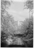 view [Muskau Park and Vicinity]: looking down from a hillside to the city church (Stadtkirche) in Bad Muskau. digital asset: [Muskau Park and Vicinity] [glass negatives]: looking down from a hillside to the city church (Stadtkirche) in Bad Muskau.