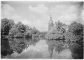 view [Muskau Park and Vicinity]: the artificial lake in Muskau Park with the New Castle on the right. digital asset: [Muskau Park and Vicinity] [glass negative]: the artificial lake in Muskau Park with the New Castle on the right.