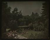 view [Unidentified Garden in Unidentified Location]: view of sunken garden with flower beds and hedges. digital asset: [Unidentified Garden in Unidentified Location] [lantern slide]: view of sunken garden with flower beds and hedges.