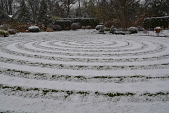 view [Garden of Many Circles]: a light snow shows off the mowed spiral lawn, the staggered arborvitae hedges and the smoke bush. digital asset: [Garden of Many Circles]: a light snow shows off the mowed spiral lawn, the staggered arborvitae hedges and the smoke bush.: 2014 Dec.