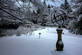 view [House in the Garden]: a blanket of snow highlighted by the armillary sphere. digital asset: [House in the Garden]: a blanket of snow highlighted by the armillary sphere.: 2013 Feb.