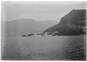 view [Miscellaneous Sites in the Italian Lakes]: Lake Como, looking toward the town of Torno. digital asset: [Miscellaneous Sites in the Italian Lakes] [glass negative]: Lake Como, looking toward the town of Torno.