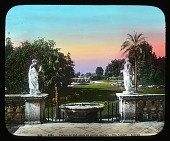 view Villa Pamphili: looking toward a fountain in the villa's garden. digital asset: Villa Pamphili: looking toward a fountain in the villa's garden.: [between 1900 and 1930]