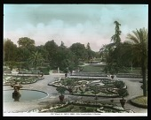view Villa Pamphili: the formal parterre garden and two fountains. digital asset: Villa Pamphili: the formal parterre garden and two fountains.: [between 1900 and 1930]