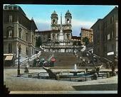 view Fontana della Barcaccia: the Barcaccia fountain, with the Spanish Steps and the Trinità dei Monti church in the background. digital asset: Fontana della Barcaccia: the Barcaccia fountain, with the Spanish Steps and the Trinità dei Monti church in the background.: [between 1900 and 1930]