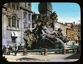 view Fontana dei Quattro Fiumi: the Fountain of the Four Rivers in the Piazza Navona, designed by Gian Lorenzo Bernini. digital asset: Fontana dei Quattro Fiumi: the Fountain of the Four Rivers in the Piazza Navona, designed by Gian Lorenzo Bernini.: [between 1900 and 1930]