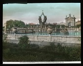 """view [Villa Lante]: the Fontana dei Mori (the Fountain of the Moors), with the male figures holding up the """"Monte"""" emblem of the Montalto family. digital asset: [Villa Lante]: the Fontana dei Mori (the Fountain of the Moors), with the male figures holding up the """"Monte"""" emblem of the Montalto family.: [between 1900 and 1930]"""