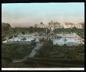 view [Villa Lante]: the garden, with the village of Bagnaia beyond. digital asset: [Villa Lante]: the garden, with the village of Bagnaia beyond.: [between 1900 and 1930]