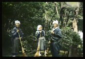 view [Miscellaneous Sites in Japan]: three female gardeners or maintenance staff with brooms in an unidentified location. digital asset: [Miscellaneous Sites in Japan]: three female gardeners or maintenance staff with brooms in an unidentified location.: 1935 May.