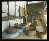 view [Miscellaneous Sites in Japan]: an array of wooden tubs, buckets, baskets, and other tools in an unidentified location. digital asset: [Miscellaneous Sites in Japan]: an array of wooden tubs, buckets, baskets, and other tools in an unidentified location.: 1935 May.