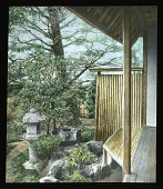 view [Miscellaneous Sites in Japan]: pedestal stone lantern, water basin, and garden area adjacent to a teahouse in an unidentified location. digital asset: [Miscellaneous Sites in Japan]: pedestal stone lantern, water basin, and garden area adjacent to a teahouse in an unidentified location.: 1935 May.