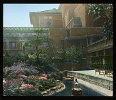 view [Miscellaneous Sites in Japan]: interior courtyard and gardens at the Imperial Hotel in Tokyo. digital asset: [Miscellaneous Sites in Japan]: interior courtyard and gardens at the Imperial Hotel in Tokyo.: 1935 May.