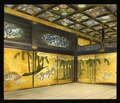 view [Nagoya Castle]: interior view in Honmaru Palace showing painted shoji screens of leopards and tigers. digital asset: [Nagoya Castle]: interior view in Honmaru Palace showing painted shoji screens of leopards and tigers.: 1935 May.