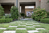 view [St. Thomas More Rosary Garden]: the checkerboard limestone and grass walkway leading to the Rosary Garden. digital asset: [St. Thomas More Rosary Garden]: the checkerboard limestone and grass walkway leading to the Rosary Garden.: 2016 Jul.
