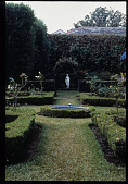 view [Strachan Garden]:  Ceres goddess sculpture in the formal rose garden. digital asset: [Strachan Garden]:  Ceres goddess sculpture in the formal rose garden.: 1987 October 1