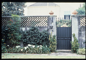 view [Strachan Garden]: garden lighting; finials; gate; espalier. digital asset: [Strachan Garden]: garden lighting; finials; gate; espalier.: 1987 October 1