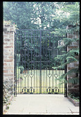 view [Strachan Garden]: iron gates with heart details. digital asset: [Strachan Garden]: iron gates with heart details.: 1987 October 1