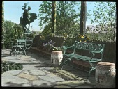 view [Naumkeag]: terrace, chairs, and sculpture. digital asset: [Naumkeag]: terrace, chairs, and sculpture.: [between 1914 and 1949?]