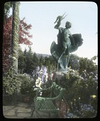 "view [Naumkeag]: looking toward the Afternoon Garden, showing the sculpture, ""Young Faun with Heron,"" created in 1887 by Frederick MacMonnies. digital asset: [Naumkeag]: looking toward the Afternoon Garden, showing the sculpture, ""Young Faun with Heron,"" created in 1887 by Frederick MacMonnies.: [between 1914 and 1949?]"