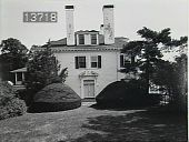 view [The Chimneys]: side view of house with topiary. digital asset: [The Chimneys]: side view of house with topiary.: [1910?]