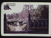 view [The Chimneys]: walkway leading down stairs to the garden from porch with balustrades. digital asset: [The Chimneys]: walkway leading down stairs to the garden from porch with balustrades.: 1957 Jul.