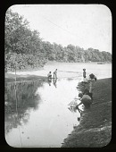 view Jamaica Pond: boys playing at the pond. digital asset: Jamaica Pond [lantern slide]: boys playing at the pond.