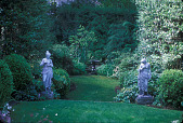 view [78 Main Street]: path leading to sunken garden, flanked by two 19th-century statues, with fountain in rear. digital asset: [78 Main Street]: path leading to sunken garden, flanked by two 19th-century statues, with fountain in rear.: 2007 Jul.