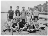 view [Volkmann School]: students, probably crew team members, from the Volkmann School, Boston Latin School, and other Boston-area schools, in the vicintiy of Boston's Back Bay. digital asset: [Volkmann School] [glass negative]: students, probably crew team members, from the Volkmann School, Boston Latin School, and other Boston-area schools, in the vicintiy of Boston's Back Bay.