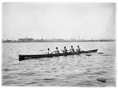 view [Volkmann School]: the Volkmann School crew, rowing in the Charles River/Boston Harbor area. digital asset: [Volkmann School] [glass negative]: the Volkmann School crew, rowing in the Charles River/Boston Harbor area.