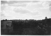 view [Miscellaneous Sites in Brookline, Massachusetts]: view from the Sears family home, showing construction of the parish house for the Second Unitarian Society on the left, the S. S. Pierce Building at Coolidge Corner in the right distance, and in the fa... digital asset: [Miscellaneous Sites in Brookline, Massachusetts] [glass negative]: view from the Sears family home, showing construction of the parish house for the Second Unitarian Society on the left, the S. S. Pierce Building at Coolidge [...]
