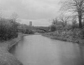 view [The Riverway]: the Riverway and Longwood Bridge, with Christ's Church (formerly the Sears Memorial Chapel) in the distance. digital asset: [The Riverway] [glass negative]: the Riverway and Longwood Bridge, with Christ's Church (formerly the Sears Memorial Chapel) in the distance.