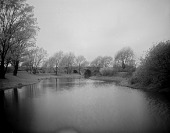view [The Riverway]: looking along the water toward a multi-arched bridge. digital asset: [The Riverway] [glass negative]: looking along the water toward a multi-arched bridge.